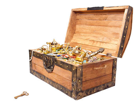 treasure trove: pirate treasure chest isolated on white