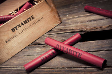 dynamite: photo of dynamite sticks on a box