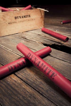 photo of dynamite sticks on a box photo