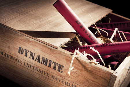 detonating: photo of dynamite sticks on a box