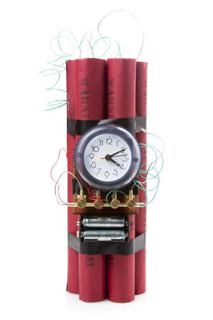 timebomb made of dynamite isolated on white photo