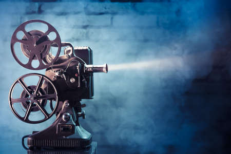 cinema strip: photo of an old movie projector