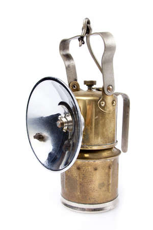 acetylene: golden mining lamp on a white background