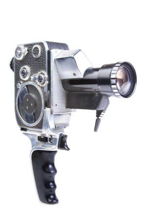 film editing: photo of an 8mm film camera on white
