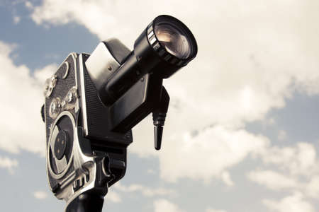 filmmaker: photo of an 8mm film camera outdoors Stock Photo
