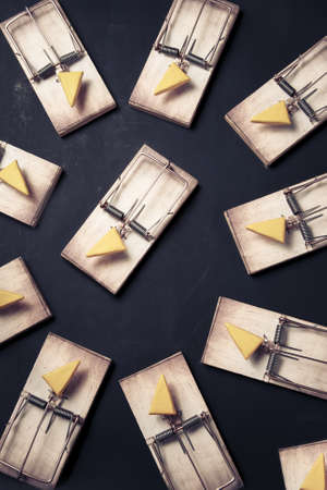 mouse traps with cheese pointing towards an empty space Stock Photo - 12791356