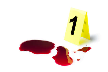 crime: evidence marker with blood splatter isolated on white Stock Photo