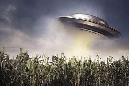 platillo volador: OVNI en un campo de cultivo en un cielo oscuro