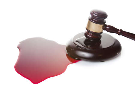 death sentence or injustice concept with juge gavel and blood photo