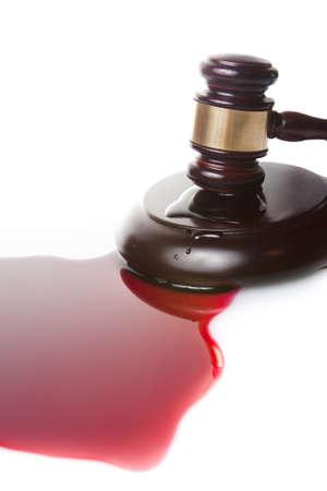 frase: sentencia de muerte o el concepto injusticia con juge martillo y la sangre