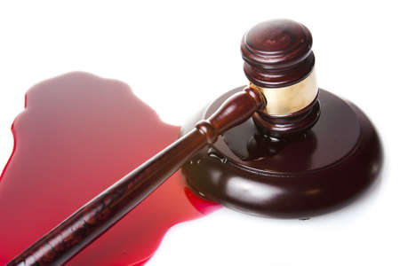sentence: death sentence or injustice concept with juge gavel and blood