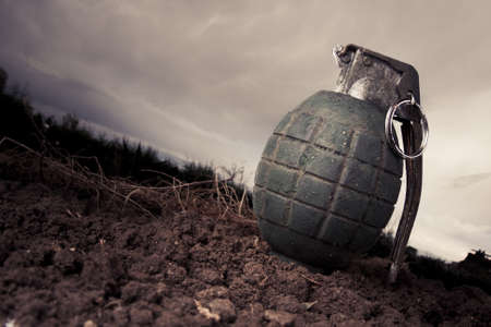 handgrenade: green grenade resting on a battlefield