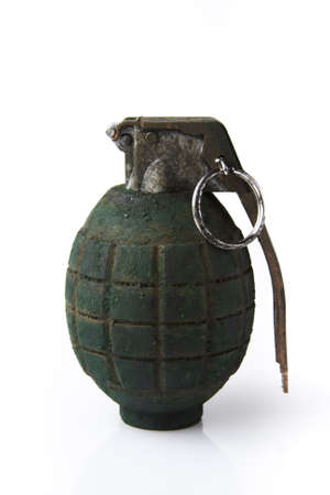 detonate: grenade isolated on white Stock Photo
