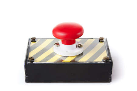 red panic button on white background