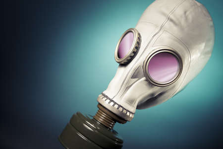 high contrast image of a gas mask and smoke photo