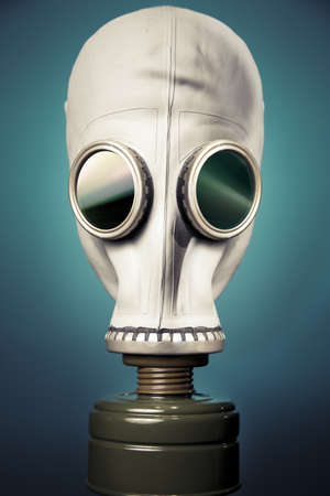 high contrast image of a gas mask and smoke Standard-Bild