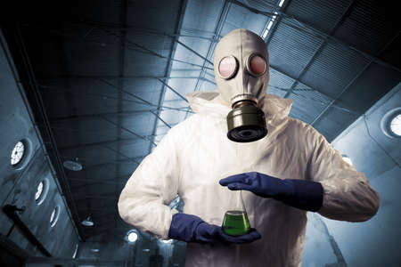 chemical warfare concept with man in a gas mask