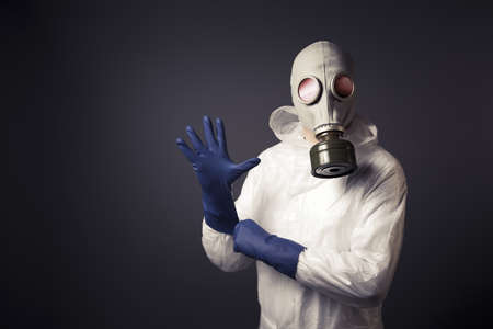protective: chemical warfare concept with man in a gas mask