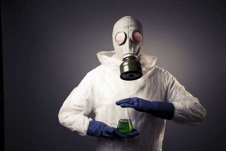 chemical warfare: chemical warfare concept with man in a gas mask