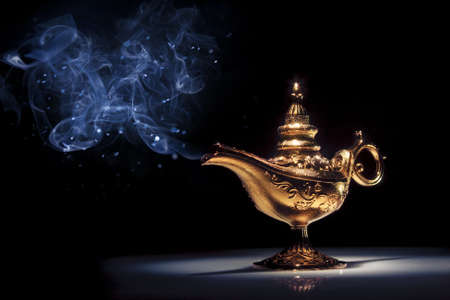 genie lamp: aladdin magic lamp on black with smoke