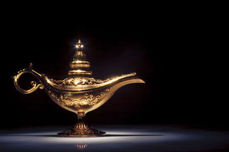 lampara magica: aladdin mágico de la lámpara en negro