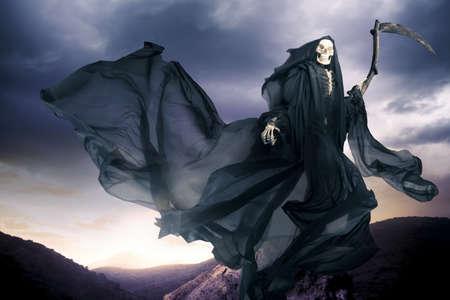 evil skull: Grim reaper on a dark background