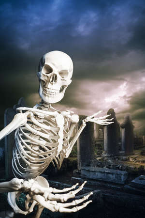human skeleton in a graveyard on Halloween photo