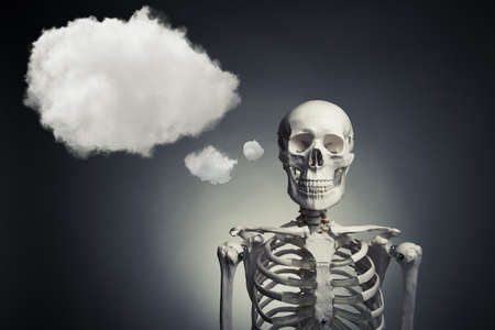 medical skeleton with a thinking cloud photo