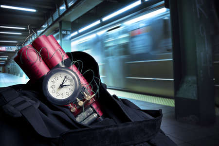 time bomb: timebomb in a backpack representing terrorist attack