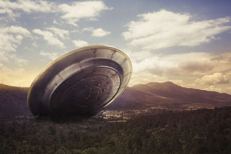 visitors area: UFO crash on a valley Stock Photo