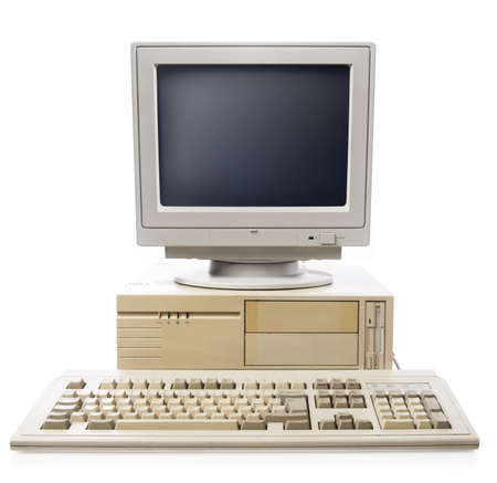 old pc: vintage computer isolated on white