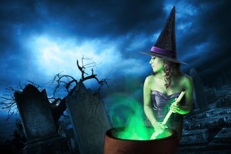 Sexy witch on a dark background