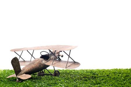 vintage metal airplane on a white background photo