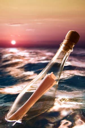 Message in a bottle at sea photo