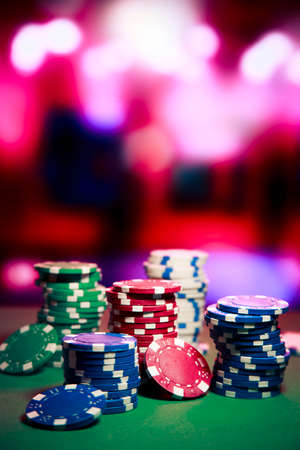 Poker Chips on a gaming table