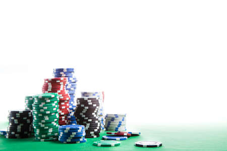 wager: Poker Chips on a gaming table