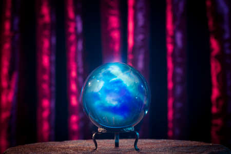 crystal background: Magic crystal ball on a table