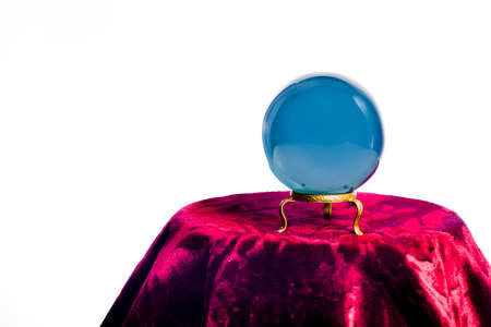 clairvoyance: Magic crystal ball on white background Stock Photo