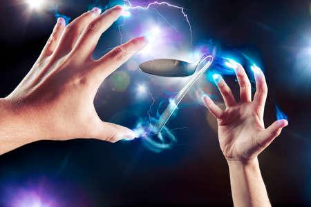 lepel buigen, psychokinese, kracht van de geest Stockfoto