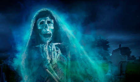 creepy Halloween background of Ghost at night Stock Photo - 28046693