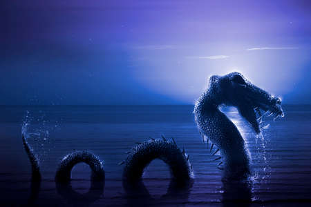 ness: Photo composite: Loch Ness Monster at night