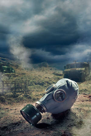 Photo Composite: Gas Mask in the aftermath of war photo