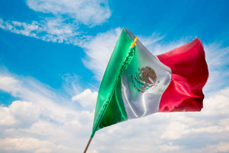 Mexican Flag with dramatic lighting, Independence day, cinco de mayo celebration Stock Photo