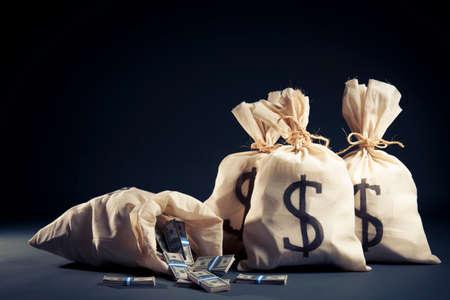 Beaucoup d'argent à l'intérieur de sacs Banque d'images - 28046821