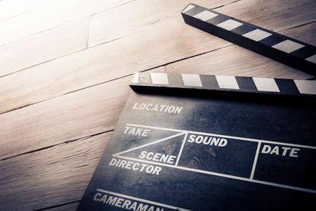 CINE: foto de la vendimia de la película badajo sobre madera Foto de archivo