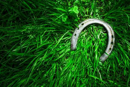 Lucky iron horseshoe on grass photo