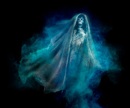 ghost woman: creepy Halloween background of Ghost at night