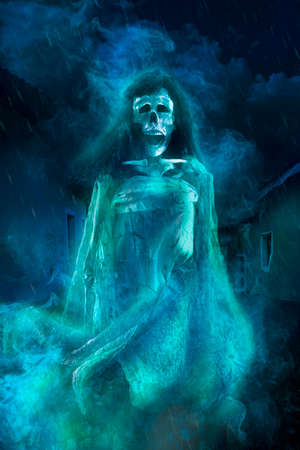 Creepy Halloween Background Of Ghost At Night Stock Photo, Picture ...