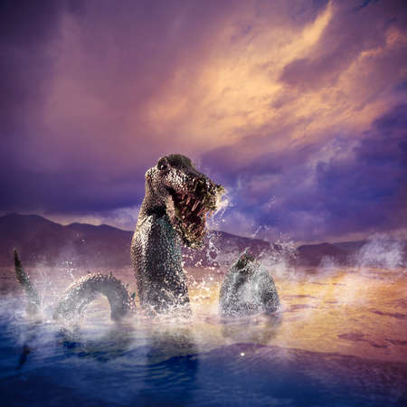 loch ness: Photo composite of Loch Ness Monster