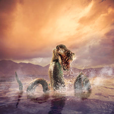 ness: Photo composite of Loch Ness Monster